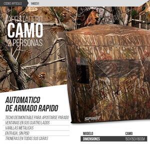 Apostadero Spinit CAMO automatica 1.50 x 1.50 x 1.60 camuflado zona seca