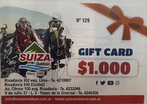 Gift Card Suiza Outdoor X $ 1.000