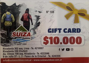 Gift Card Suiza Outdoor X $ 10.000