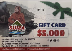 Gift Card Suiza Outdoor X $ 5.000