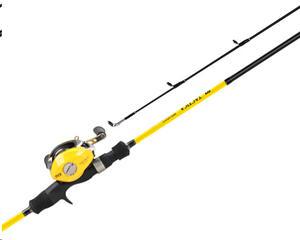 Reel rotativo TICA 125-35 manija izquierda mas caña gati. 1.83 mts amarillo LCA101