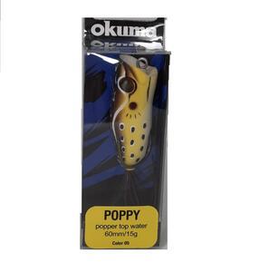 Señuelo Okuma Rana Poppy FG16 60mm 15 gramos color 05 Marron Amarillo y Negro