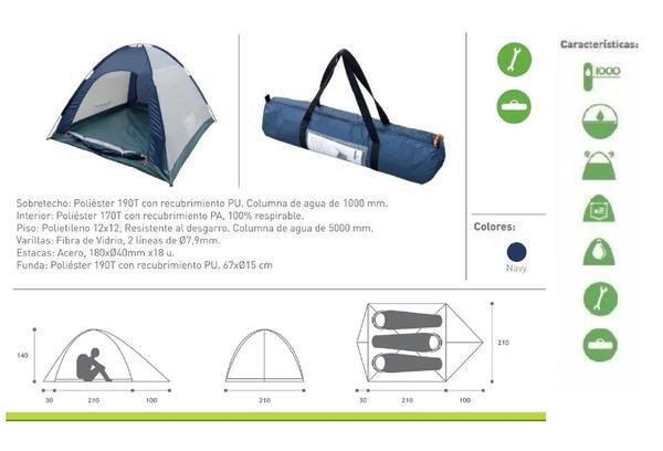 Carpa Hummer Igloo 4D impermeable para 3 personas Medidas : 100  210  30 x 210 x140c