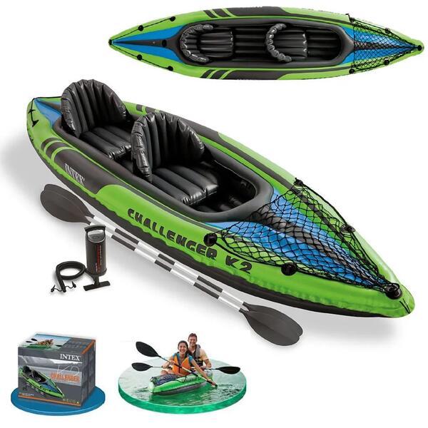 Kayak inflable Intex Challenger K2 New 351 X 76 X 38 CM+ Inflador+2 Remos