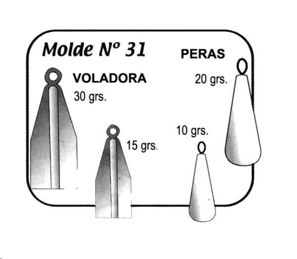 Molde Jones para plomadas Nro. 31  10GR-30GR