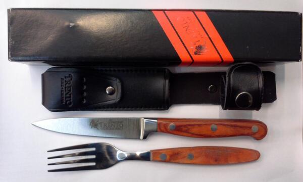 Set Trento tenedor/cuchillo mesa cabo madera