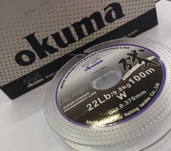 Tanza Okuma Challenger X 100 mt. 0.37 mm. blanca